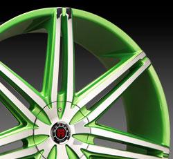 Green Chrome Wheel